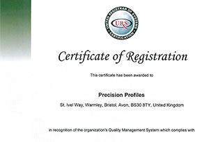 ISO 9001 Certification. Click to enlarge.